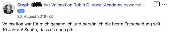 Steph Bewertung Voiceation Robin D. Vocal Academy